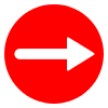 Free Red Circle Right Arrow Vector Icon