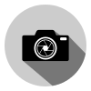 Free Camera in a Circle with a Long Shadow Vector Icon