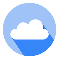 Free Blue Cloud in a Circle with a Long Shadow Vector Icon