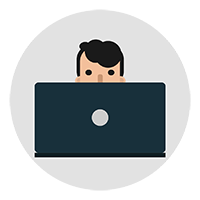 Free Man Working on a Laptop Vector Icon