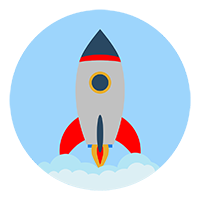 Free Rocket in a Circle with Clouds Vector Icon